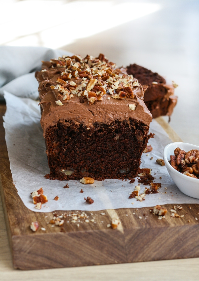 Chocolate and pecan tea loaf cake with chocolate buttercream icing