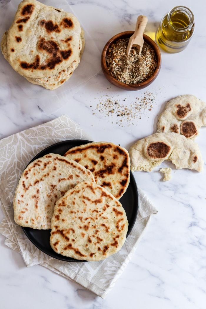 Easy flatbread recipe with dukkah flatlay
