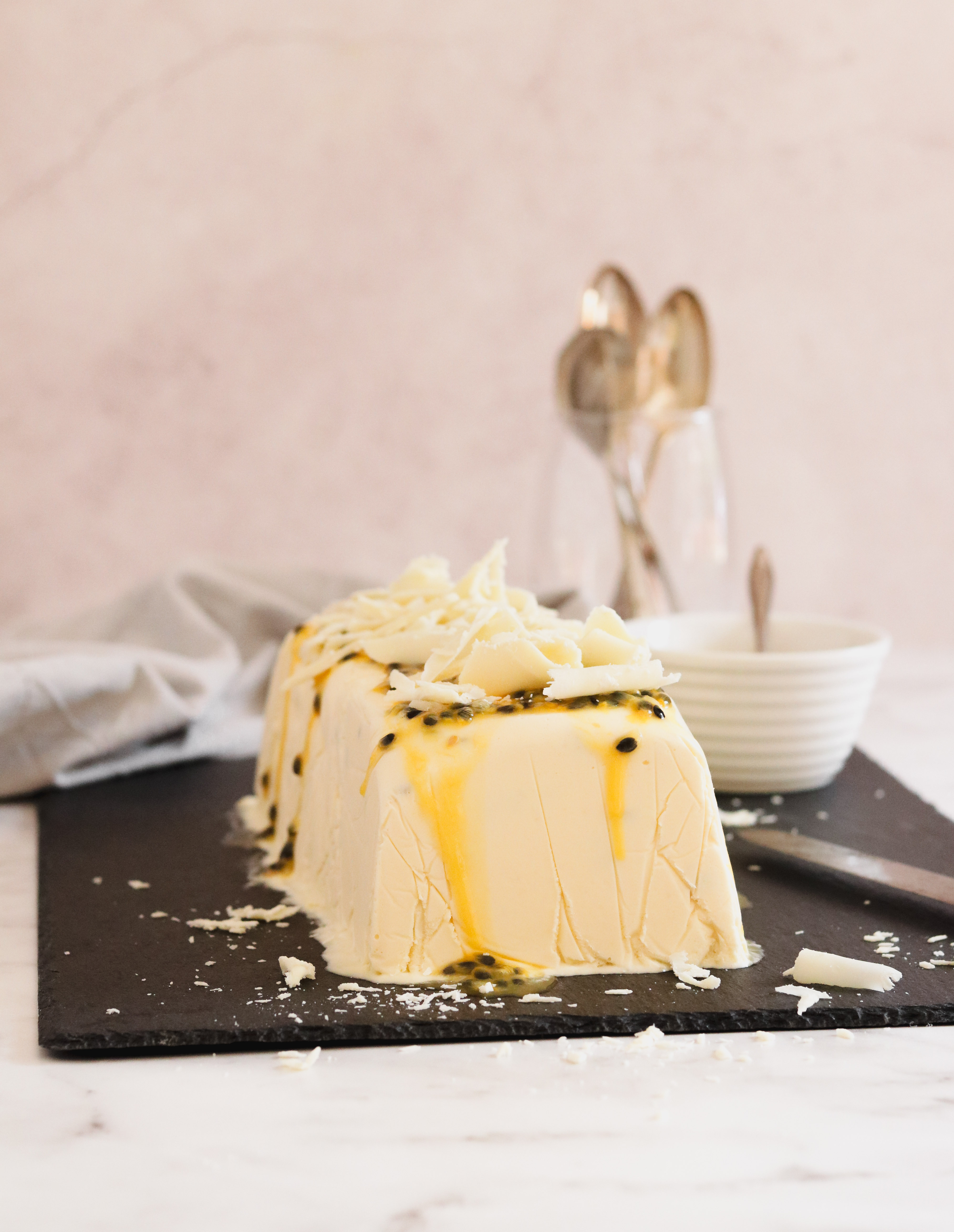 White chocolate and granadilla semifreddo